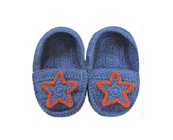 Baby Booties - Albetta Shooting Star Knitted Crochet Booties - Blue/Red, 3-6 Months