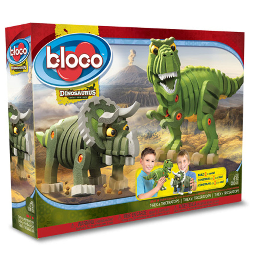 Kids Toy - Bloco T-Rex & Triceratops- Dinosaur Toy - Green