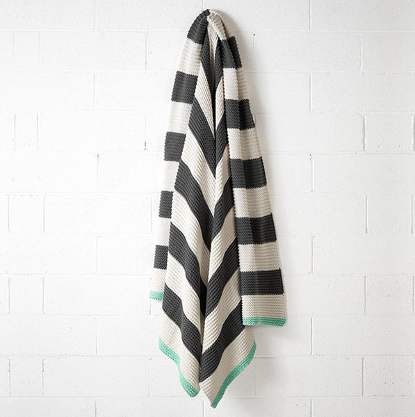 Aura Striped Throw in Charcoal & Mint