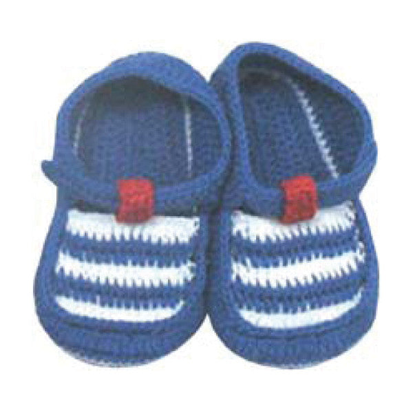 Baby Booties - Albetta T-Bar Knitted Crochet Booties - Blue/White, 3-6 Months