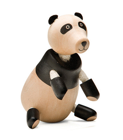 Wooden Toy - anaMalz Panda- Animal Baby Toy - Wood/Black