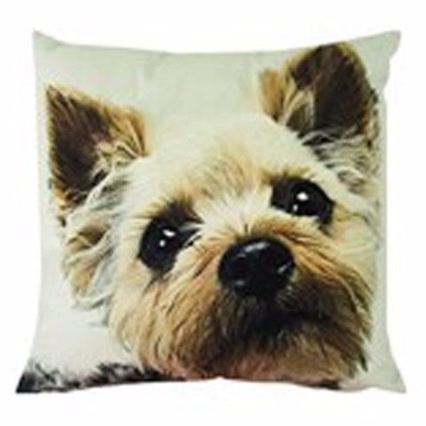 L & M Terrier Velvet Look Cushion