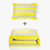 Aura Wide Stripe in Yellow Quilt Cover King Single/Double Bed Duvet Set