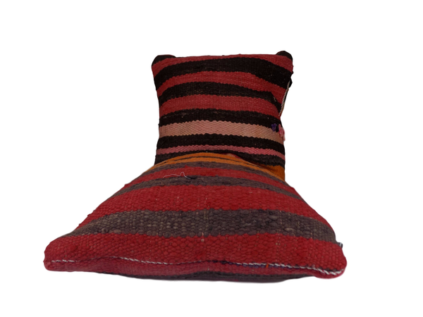 Large Red and Brown Striped Berber Moroccan Cushion