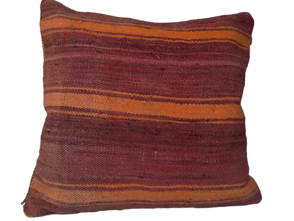 Orange and Dark Pink Stripes Berber Moroccan Cushion