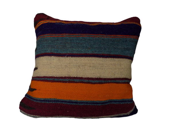 Orange and Blue Berber Moroccan Cushion