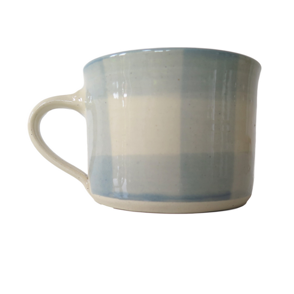Handmade Wonki Ware Squat Mug - Gingham Blue Check