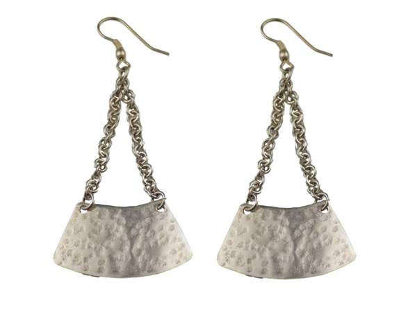 Chain-hung Silverplate  Earrings