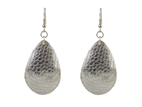 Hammered Teardrop Silverplate Brass Earrings