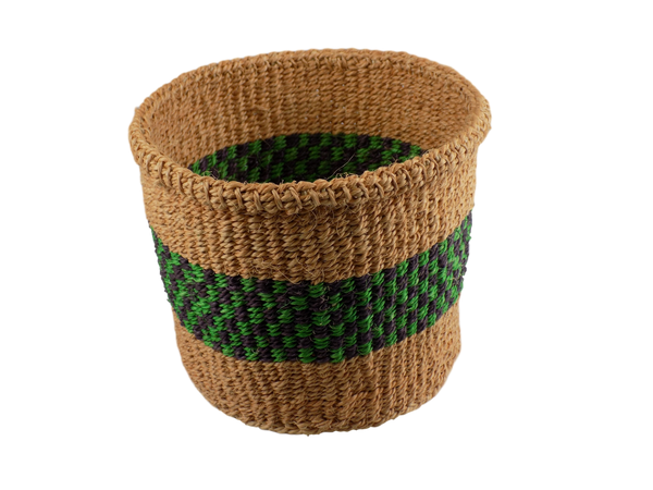 Natural with Shades of Green and Purple Sisal Basket