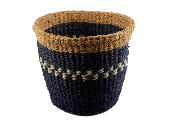 Blue & White Striped Sisal Basket
