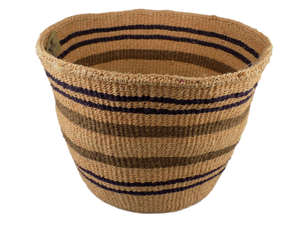 Black and Brown Striped Sisal Basket