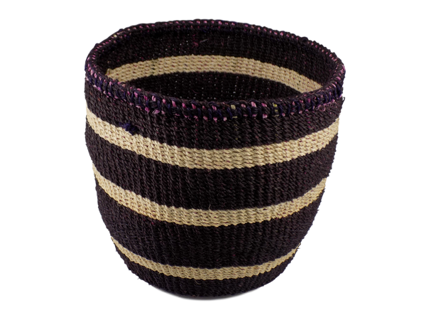 Black and White Striped Sisal Basket