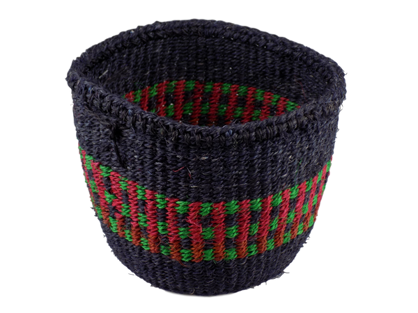 Blue With Red & Green Striped Sisal Basket