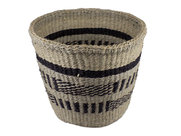 Black Striped Sisal Basket