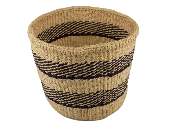 Black & White Striped Sisal Basket
