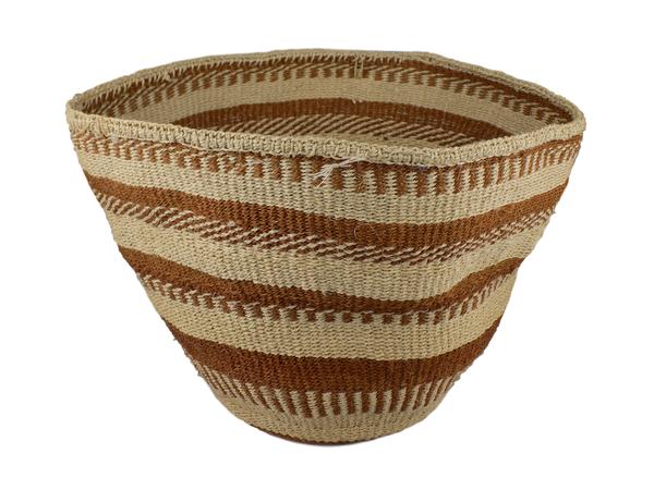 Brown Striped Sisal Basket