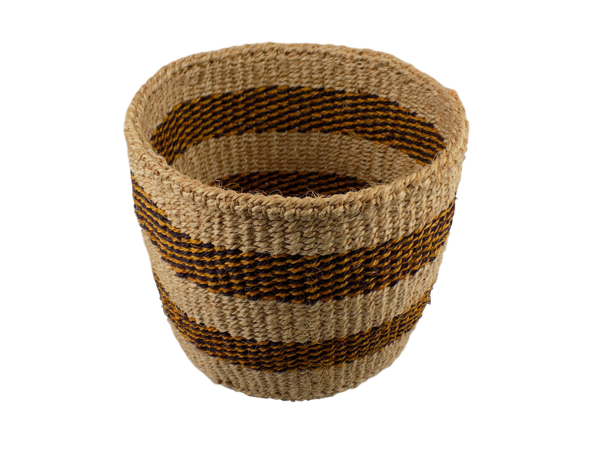 Black & Yellow Striped Sisal Basket