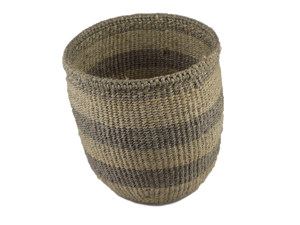 Grey Striped Sisal Basket