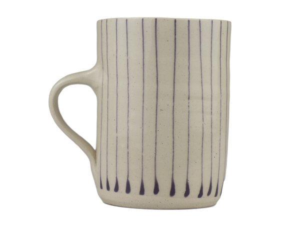 Handmade Wonki Ware Mug - Purple Stripes