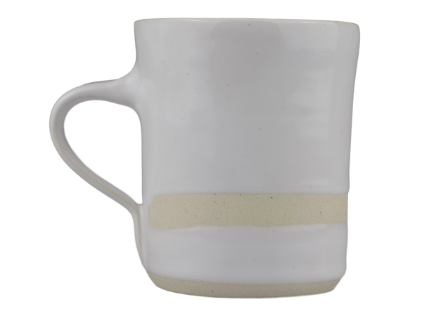 Handmade Wonki Ware Mug - White With Stripe