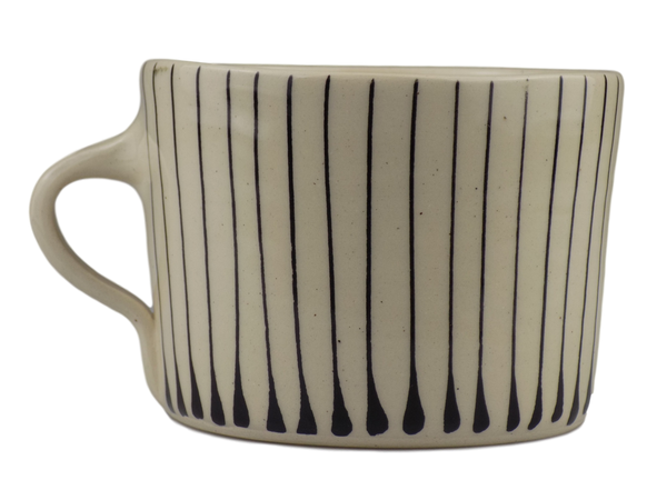 Handmade Wonki Ware Squat Mug - Black Stripes