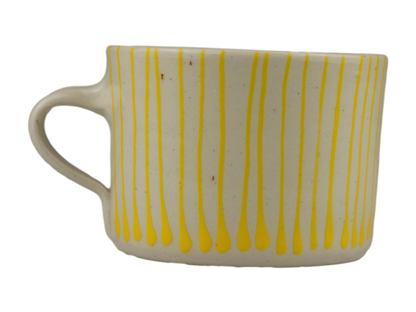 Handmade Wonki Ware Squat Mug - Yellow Stripes