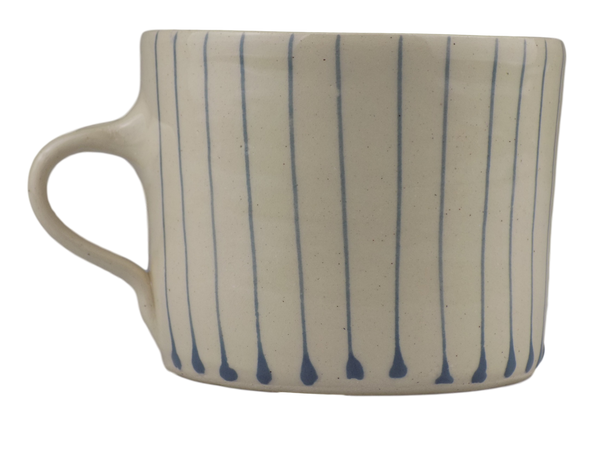 Handmade Wonki Ware Squat Mug - Purple Stripes