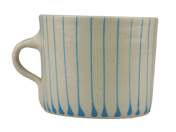 Handmade Wonki Ware Squat Mug - Sky Blue Stripes