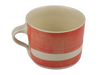 Handmade Wonki Ware Squat Mug - Red With Stripe
