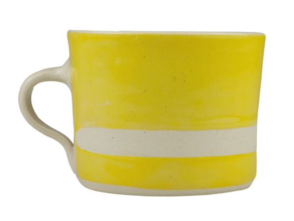 Handmade Wonki Ware Squat Mug - Yellow With Stripe