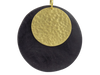 Disc-Shaped Black Wood And Brass Earrings
