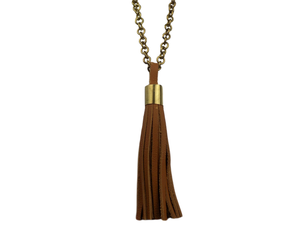 Tan Tassel Necklace