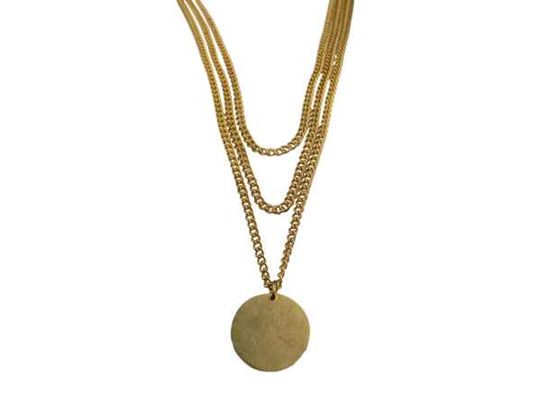 Brass Coin & Multiple Chain Necklace