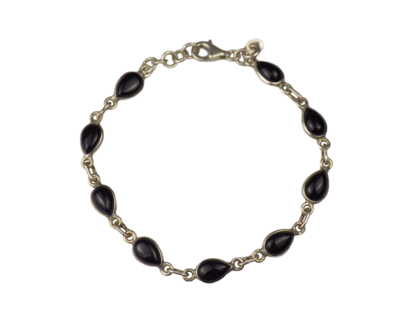 Black Onyx & Silverplate Brass Bracelet