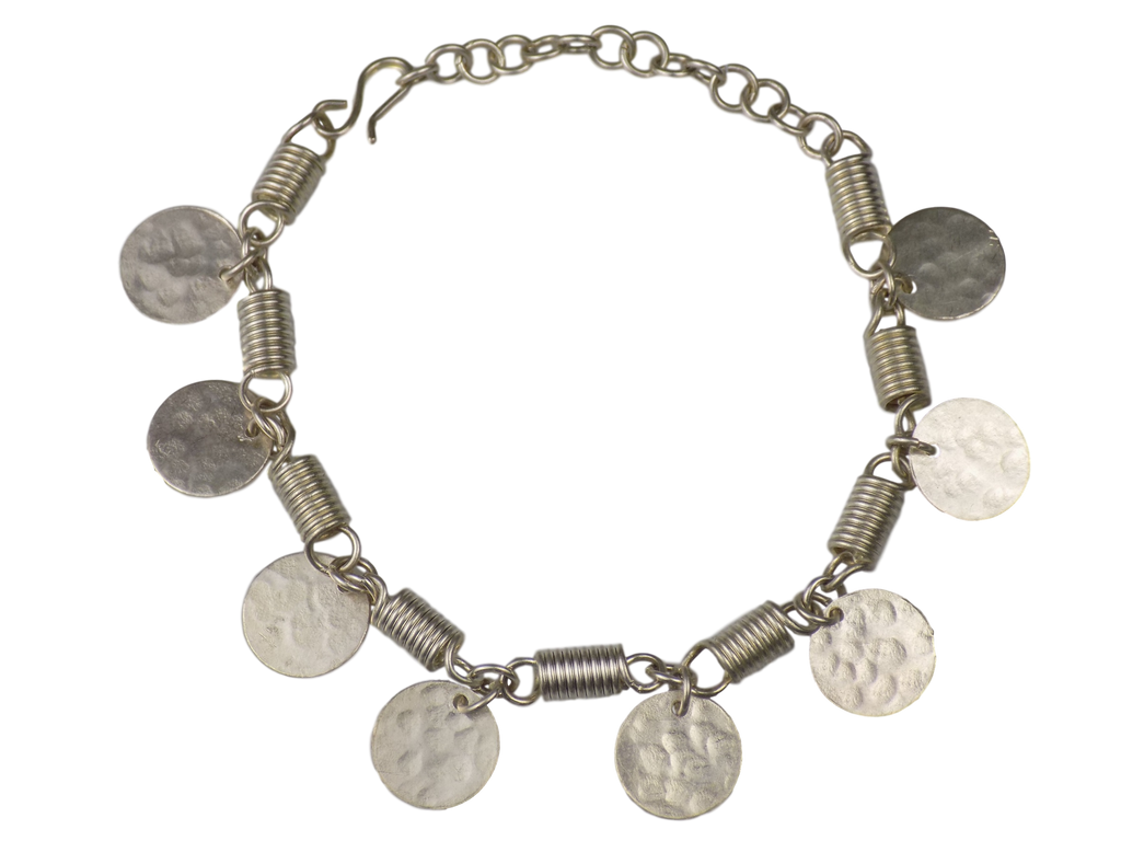 Coins & Coiled Silverplate Brass Bracelet