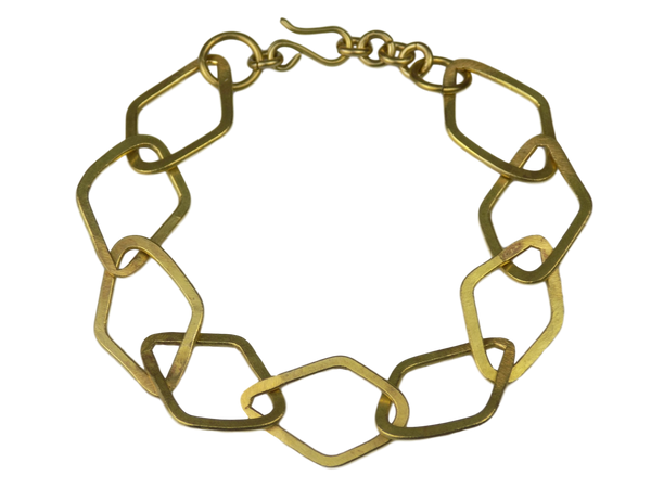 Flattened Square Link Chain Brass Bracelet