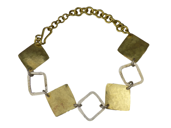 Open & Closed Square Link Brass Bracelet