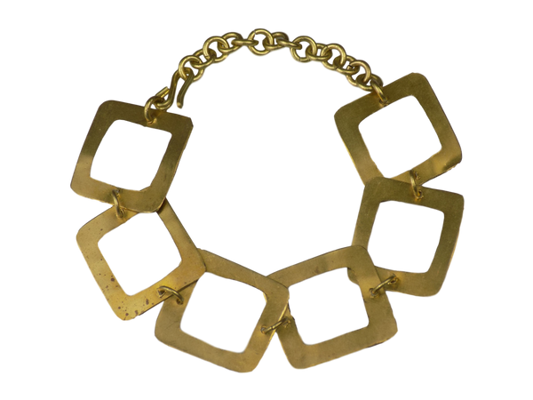 Open Square Link Brass Bracelet