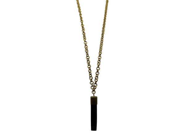 Brass & Black Wood Necklace