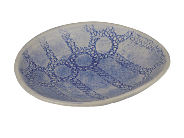 Blue Salsa Plate With Circles Design