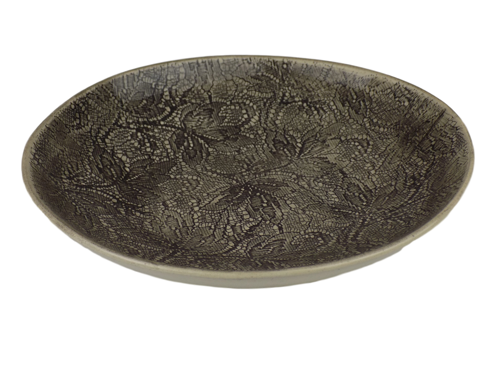 Handmade Black Graphite Round Serving Bowl With  Lace Design