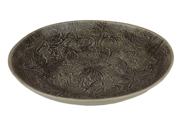 Black Graphite Round Serving Bowl With  Lace Design