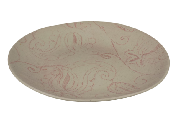 Handmade Pink Plate With Abstract Design