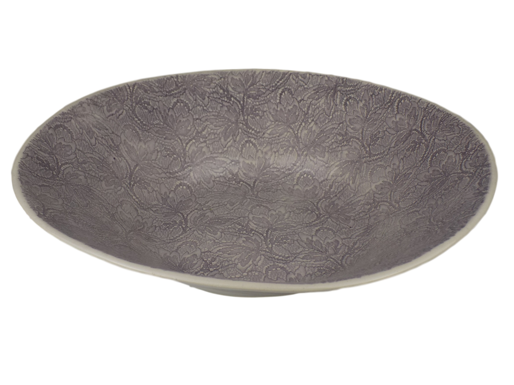 Handmade Aubergine Round Serving Bowl With Lace Design