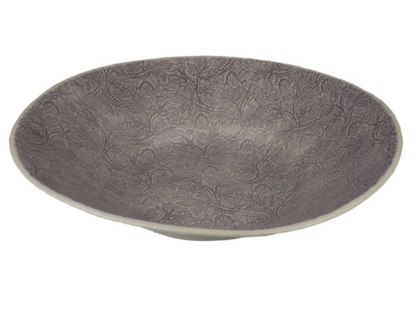 Aubergine Round Serving Bowl With Lace Design