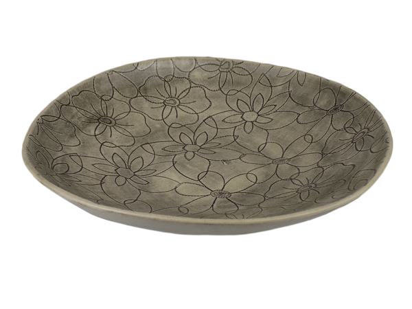 Aubergine Round Serving Bowl with Daisy Design