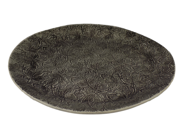 Handmade Black Graphite Round Serving Plate With Lace Design