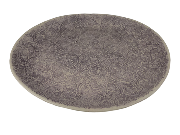 Handmade Aubergine Round Serving Plate With Lace Pattern