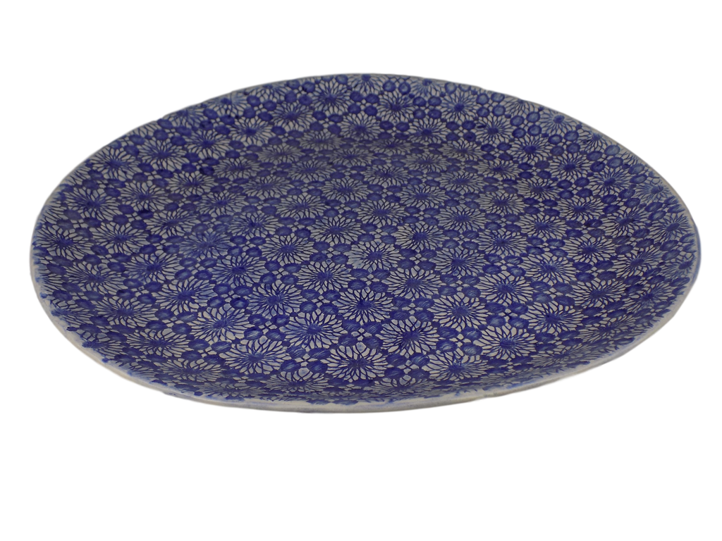 Handmade Blue Round Serving Plate with Lace Design